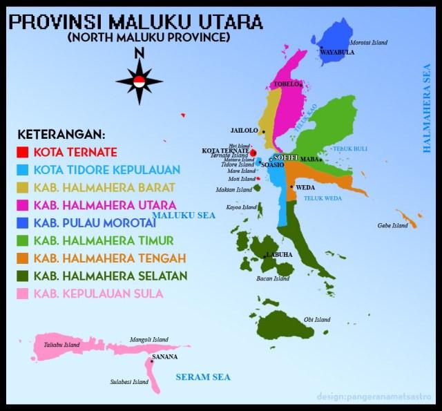 Peta Provinsi Maluku Utara. Kabupaten Halmahear Selatan bagian yang berwarna hijau. Desa Bibinoi terletak di Pulau Halmahera