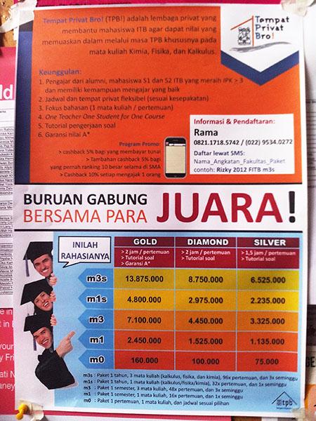 Iklan les privat buat mahasiswa TPB (Photo by Eko Purwono)