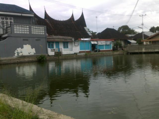 Kolam di samping rumah penduduk.