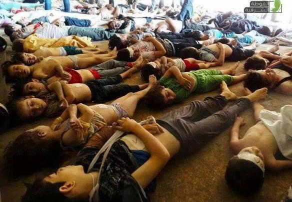 Jenazah anak-anak Suriah yang menjadi korban bom senjata kimia.