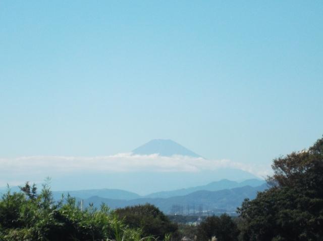 Puncak gunung Fuji terlihat dari kampus Keio.