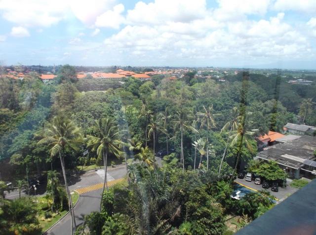 Area luas di depan hotel, dari jauh tampak lapangan golf.