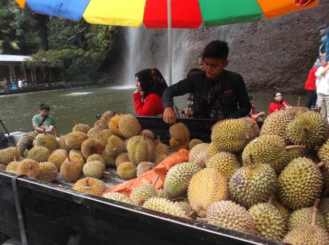 Pedagang durian dekat air terjun