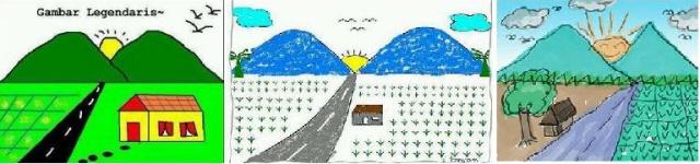 Gambar pemandangan yang umum dibuat anak-anak (Sumber: hasil pencarian via Google)