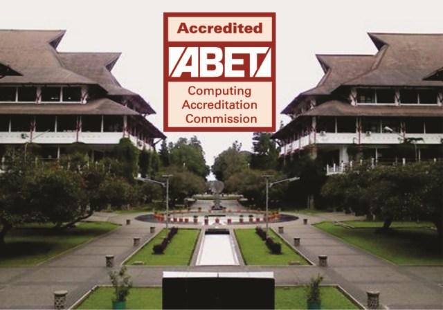 Akreditasi ABET (latar belakang Gedung Labtek V dan VIII, tempat prodi Informatika berrada). Sumber foto: https://stei.itb.ac.id/blog/2014/09/29/4367/