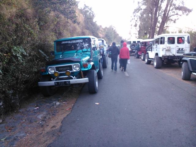 Puluhan jip parkir di sepanjang jalan menuju kawasan Bromo  (difoto pagi hari setelah sunrise)